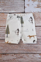organic baby leggings shorts, baby shorts, toddler shorts, baby leggings ,woodland, boy shorts, fox, arrows, forest, indian,