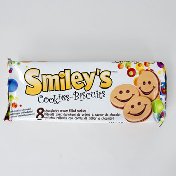 COOKIES SMILEY'S CHOCOLATELY HAZELNUT CREAM FILLED 8CT 4.8 OZ #710037