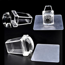 2Pcs/SET Nail Art Stamper Clear Transparent Jelly Silicone Stamp Plastic Handle Plate Scraper Transfer Square Stamping Manicure