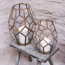 GEOMETRIC BRASS LANTERNS, CANDLE LANTERN, DECORATIVE LANTERN
