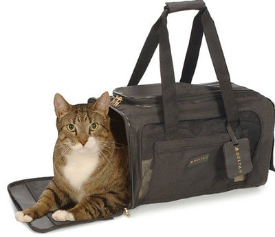 Pet Carrier Bag Travel Plane Airline Car Medium Size Dog Puppy Cat Kitty Black