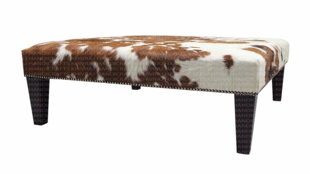 Tri-Colour Cowhide Footstool