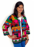 Indian kutch work ladies embroidery jacket - Women vintage embroidery ethnic style jacket - Bohemian style jacket