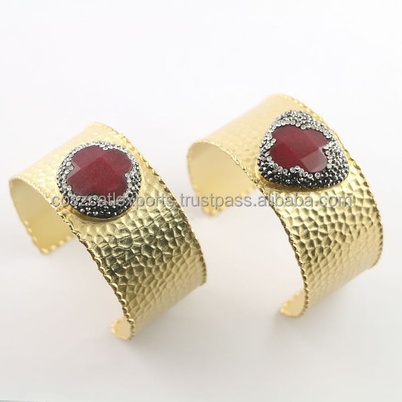 Fashion Cuff Gold Electroplated Brass Jade Gemstone Pave Crystal Zircon Druzy Jewelry Bangles