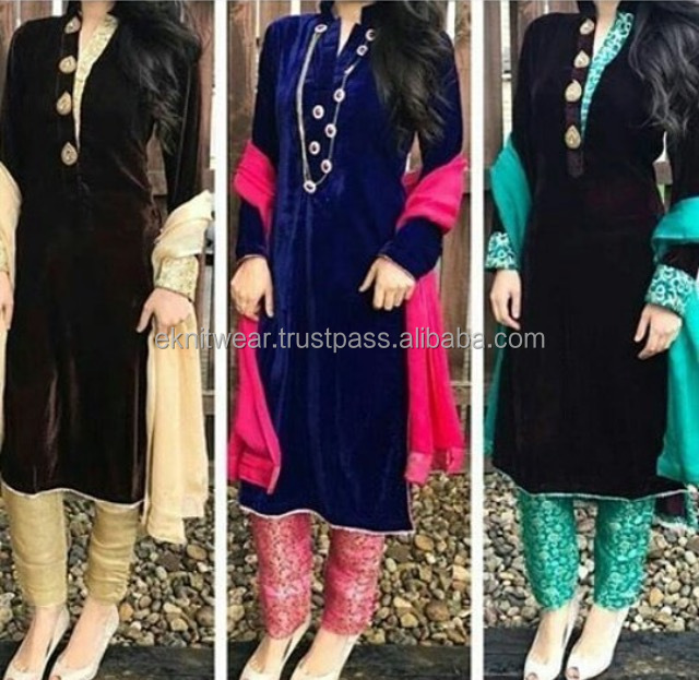 Velvet Kameez and Jamawar Trouser With Chiffon Dupatta Pakistani
