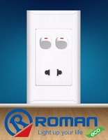 2 pin, 2 gang single socket, 16A-250V wall electric switch and socket