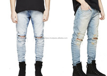 Distressed Denim Pant - Wholesale Mens Cotton Trousers Men Embroidered Image Pictures Distressed Jeans Pants Male Complex