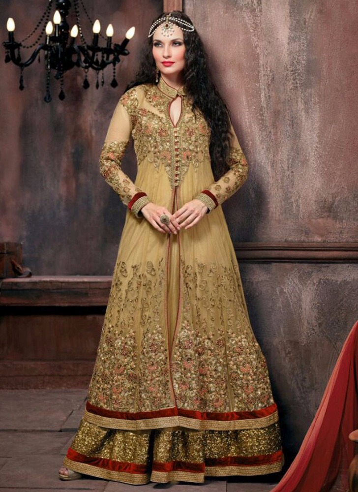 Beige net embroidered salwar kameez