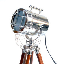 NAUTICAL SEARCHLIGHT WITH TRIPOD STAND - COLLECTIBLE MARINE SPOTLIGHT ON TRIPOD