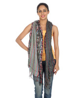 Tassels Black Viscose Polka Dot Casual Stole Women Fashion Jaipuri Dupatta