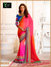 GeorgetteRed and Multicolor borderd Lace Boder Saree'