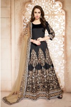Fascinating Black Embroidered Designer Anarkali Suits New Dress/Pakistani Churidar Salwar Kameez/Hand Work Anarkali Salwar Kamee