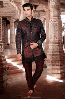 Indian Dark Red Wine, Saddle Brown color Readymade Sherwani