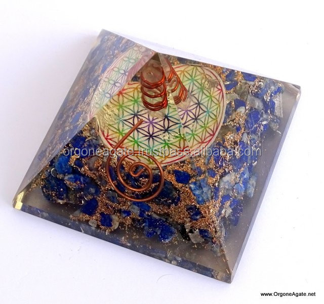 Big Orgonite Lapis Lazuli Pyramid With Flower Of Life Symbol And Crystal Point