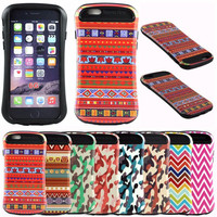 Camouflage Aztec Zig Design Slim Armor Cover Hybrid Case For iPhone 6 4.7