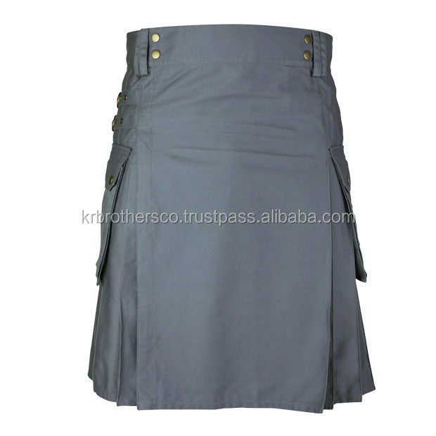 Active Men Grey Modern Cotton Made Working Casual Utility Kilt