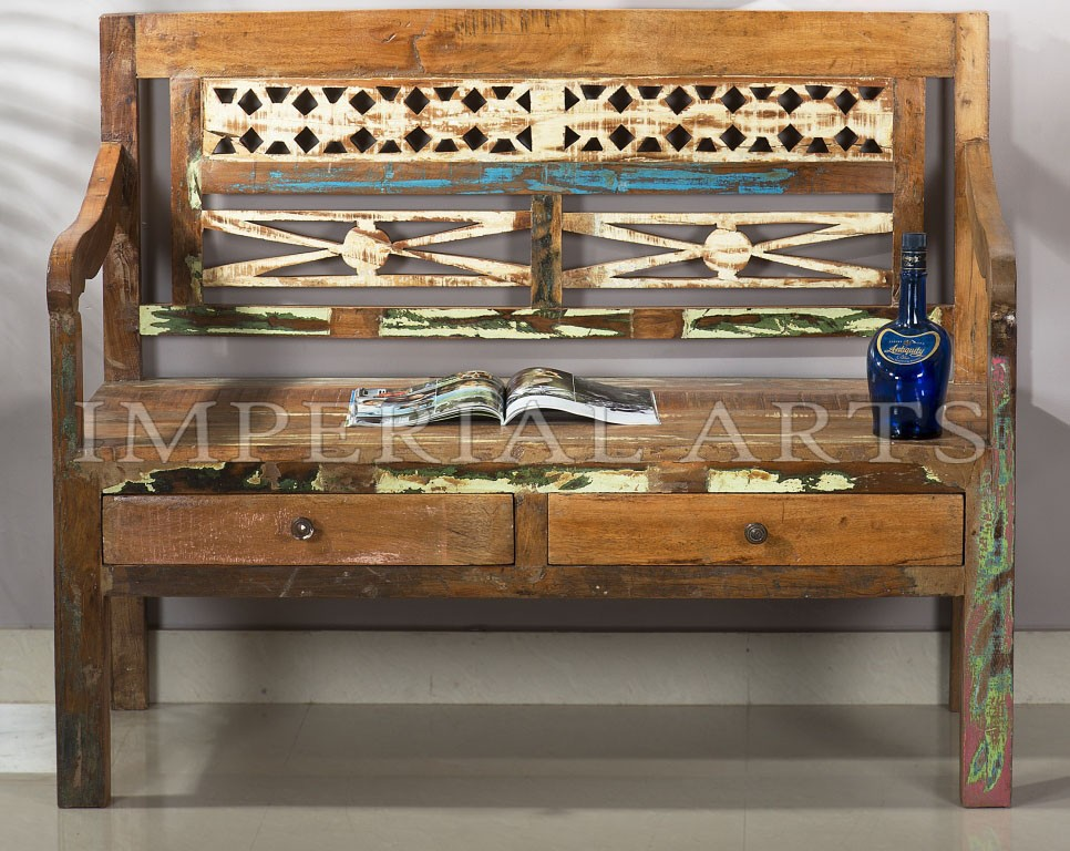 ANTIQUE RECYCLE WOOD BENCH WITH 2 DRAWER, FOR HOME FURNITURE