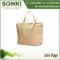 Jute Shopping / Tote Bag with Self Handles and Zipper Closure