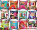 "Indian 16"" Purple KanthaTOSS PILLOW CUSHION COVER EMBROIDERED Gift Indian Art COLORFUL India"