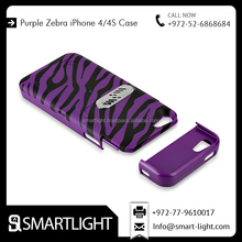 Impact Design Hard Case And Hybrid Protector Purple Zebra Case Cover For iPhone 4/4s