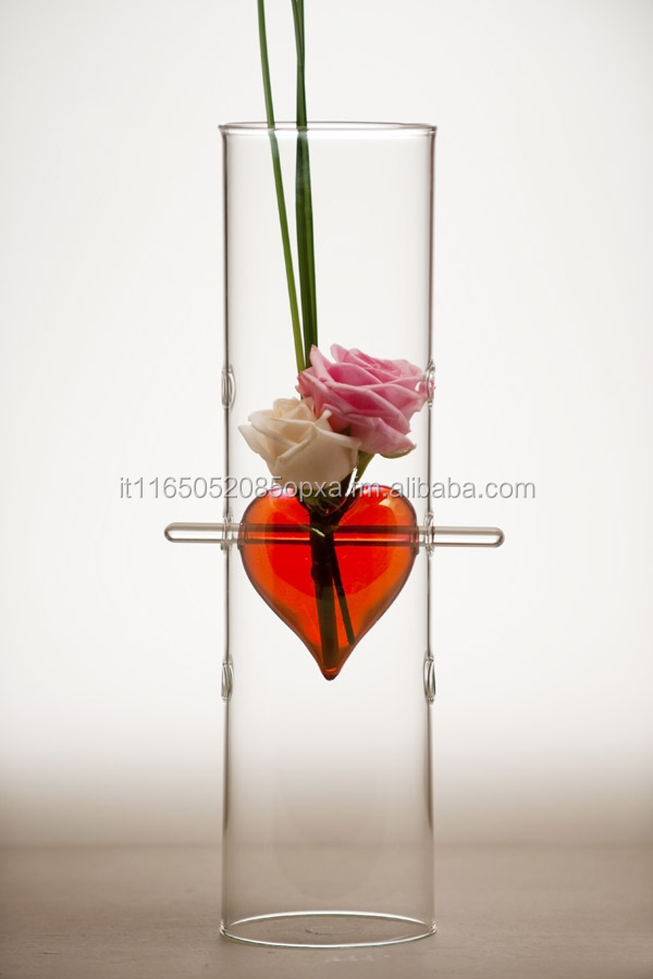 hand-blown glass, Cylinder Vase, small Red Heart, HandMade in Italy