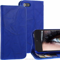 Geniune Leather Lucca Bookstyle case for iPhone 5S / 5 Washed Blue Cow Leather