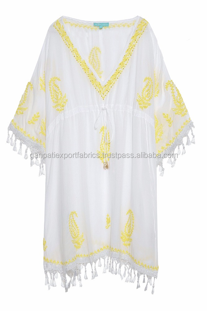 Girls Beachwear Latest Fashionable Cotton Embroidered Short Kaftan Poncho Beads Work