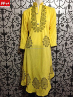 Dark Yellow Indian Pakistan Designer Flaired Long Kurti Shirt Anarkali Churidar Design 2015