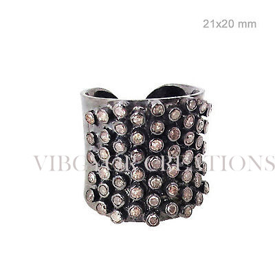 Bracelet shape pave diamond 925 sterling silver black rhodium band ring