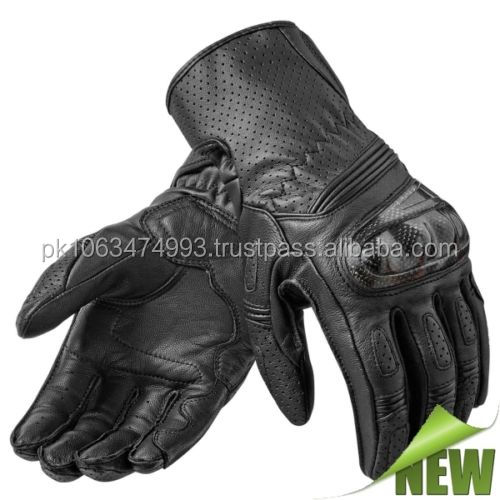 Men's Motorcycle Leather Glove Sport-White Black/Men's Motorcycle Leather Glove Sport Black