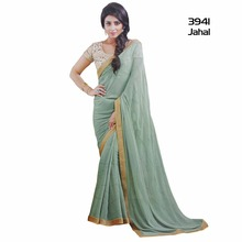 A must-have in your ethnic wear collection this Sea Green coloured Georgette Saree with intricate detailing