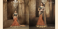 Lehenga with Subtle shade of orange with all over embroidery on it, Blouse with all over zari and sequin embroidery.