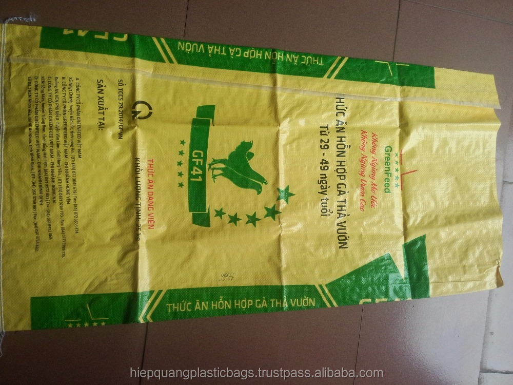 Yellow and transparent pp woven bag for agriculture in vietnam