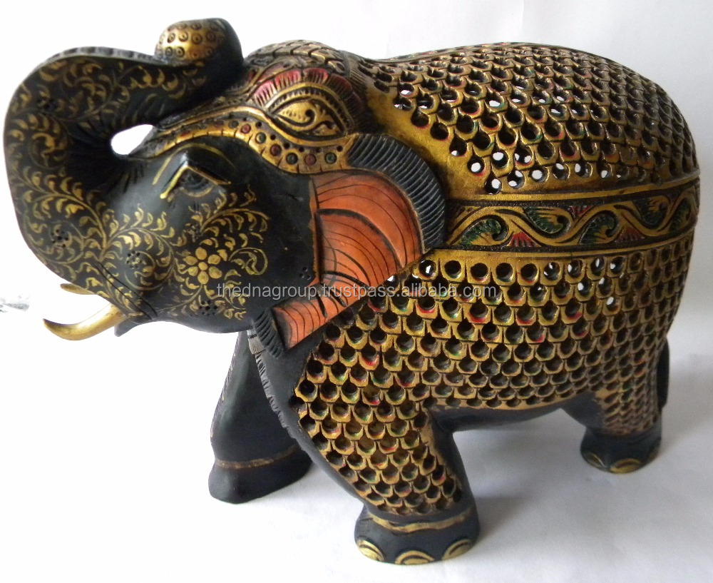 Exquisite Super Fine Hand Carved Under Cut Wooden Indian Royal Elephant
