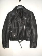 Ladies Classic Black Biker Motorcycle Leather Jacket