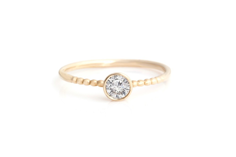 0.25 TCW Cubic Zirconia Round Brilliant Cut 14K Solid Yellow Gold Bezel Solitaire Stackable Joint Ring Fine Jewelry