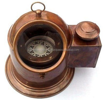 BEAUTIFUL HANDMADE REPRODUCTION BRASS BINNACLE COMPASS WITH OIL LAMP CHCOM291
