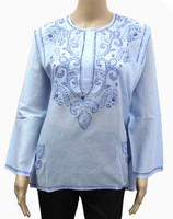 Round Neck with Hand EMB Ladies Blouse Tops cotton latest kurti