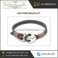 Leather Mens Anchor Bracelet Jewelry For