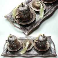 21369 Handmade Ottoman Turkish Coffee set Espresso Cup&Saucer,Copper&Porcelain