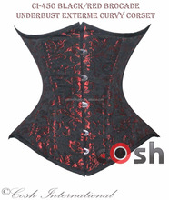 CORSETS SUPPLIER Ci-450 Red Brocade Waist Cincher Underbust Corset Supplier