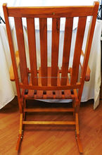 Folding Rocking Chair / Rocker Chair with Wooden Slats Mid Mod For Sale