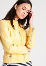 Sexy Yellow Stylish Women Casual Wear Leather Jacket