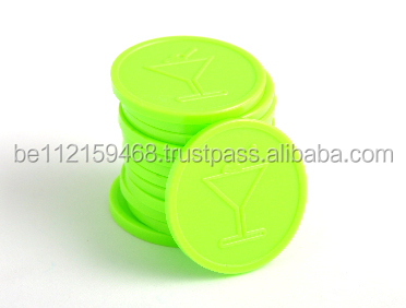 Embossed Plastic Token Coins in stock - Neon lime - Cocktail