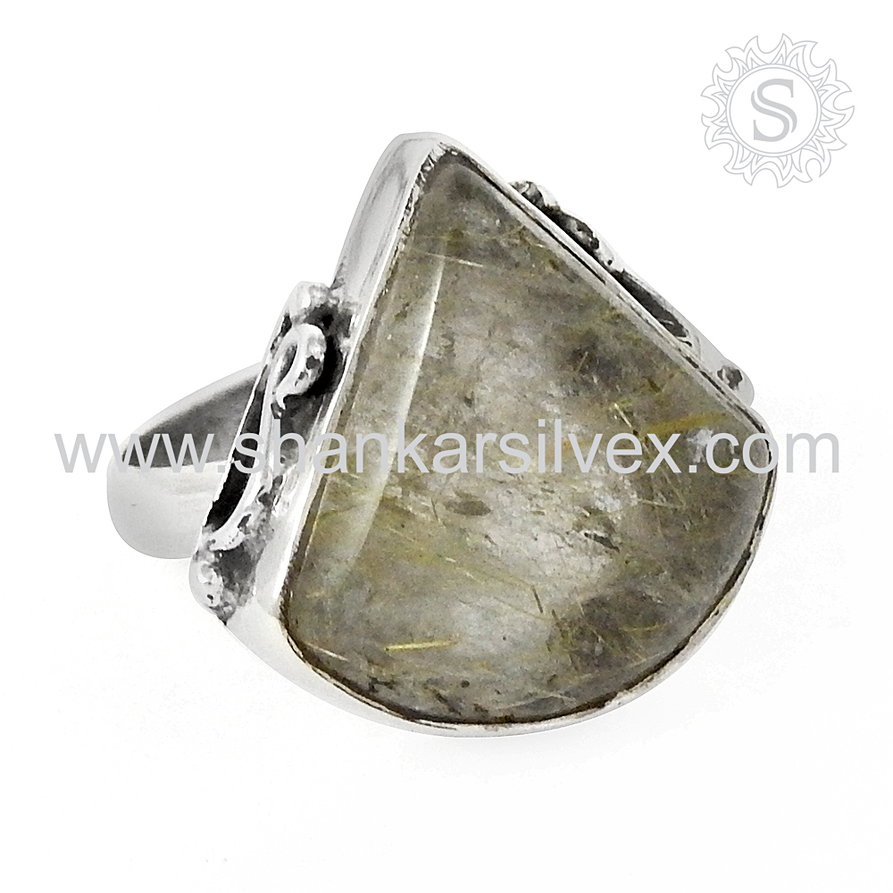 Especial Golden Rutile Ring Authentic Design Gemstone Silver Jewelry 925 Sterling Silver Wholesale Jaipur