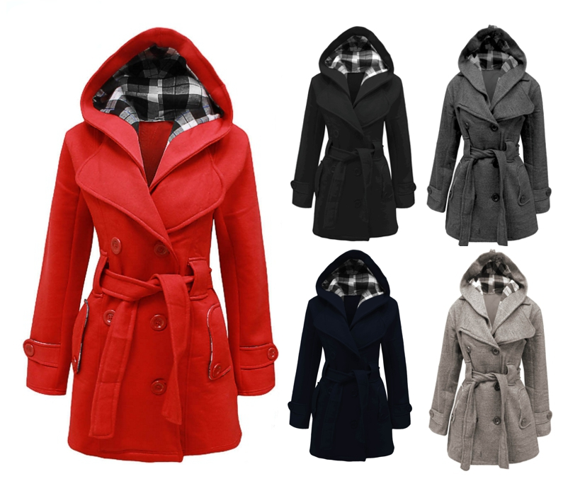 NEW LADIES BELTED BUTTON LONG COAT WOMEN HOODED FLEECE JACKET SIZES