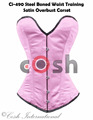Overbust Pink Color Satin Steel Boned Waist Training Corsets Supplier, Regular, Curvy, Standard, Short Corsets Manufacturer