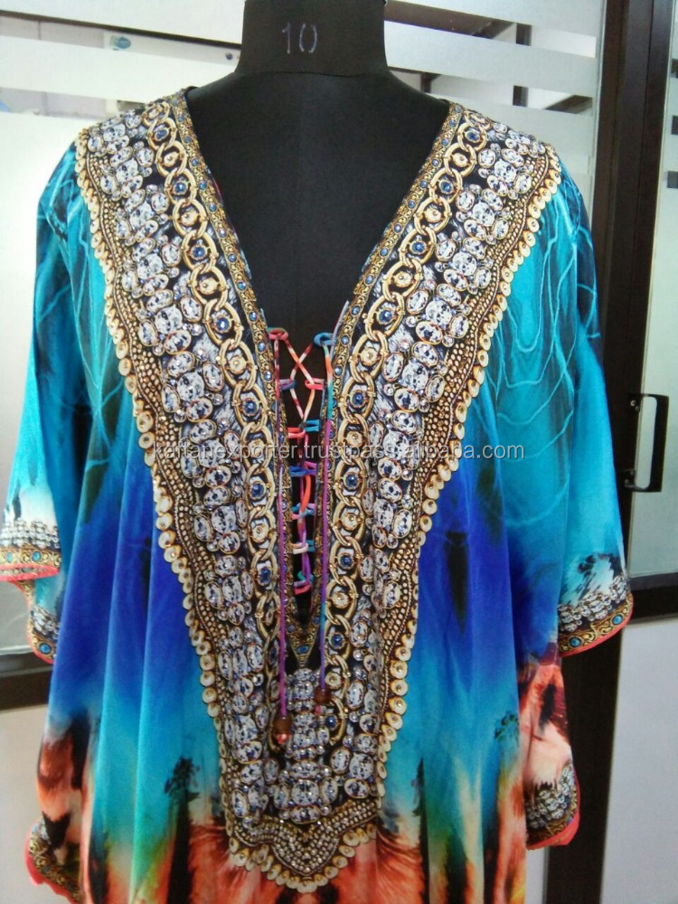 Chain, Diamond and Pearls in neck with feathers designs kaftan