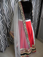 Red and Black Party Wear Lehenga