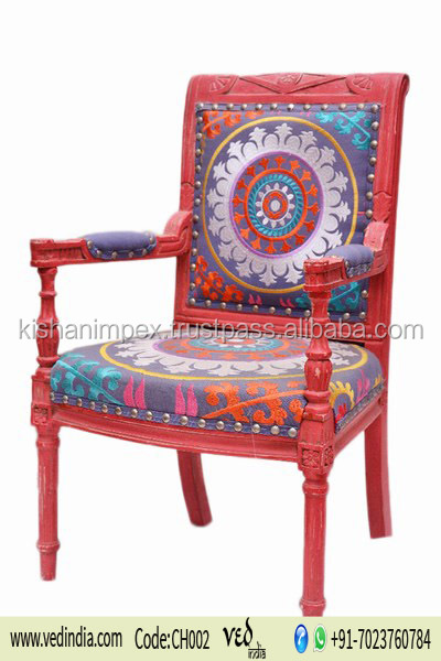 Elegant Classic Round Flower Pattern Upholstered Throne Chair Mandala Designs Wooden Kantha Work Handmade Dining Chair Wholesale
